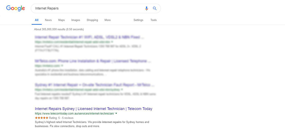 Google Screenshot showing Telecom Today near the top of the rankings
